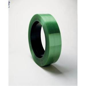 5/8 inch x .030 x 4600' Green Smooth Polyester Strapping Waxed 16x6 1100# Break Strength