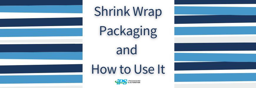 navy and light blue stripes on sides with text shrink packaging and how to use it in center
