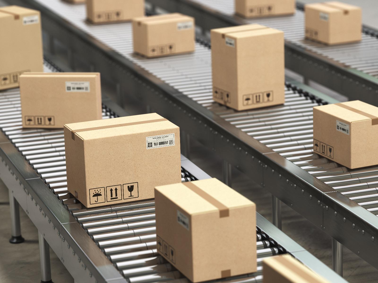 corrugated boxes traveling on conveyor belts
