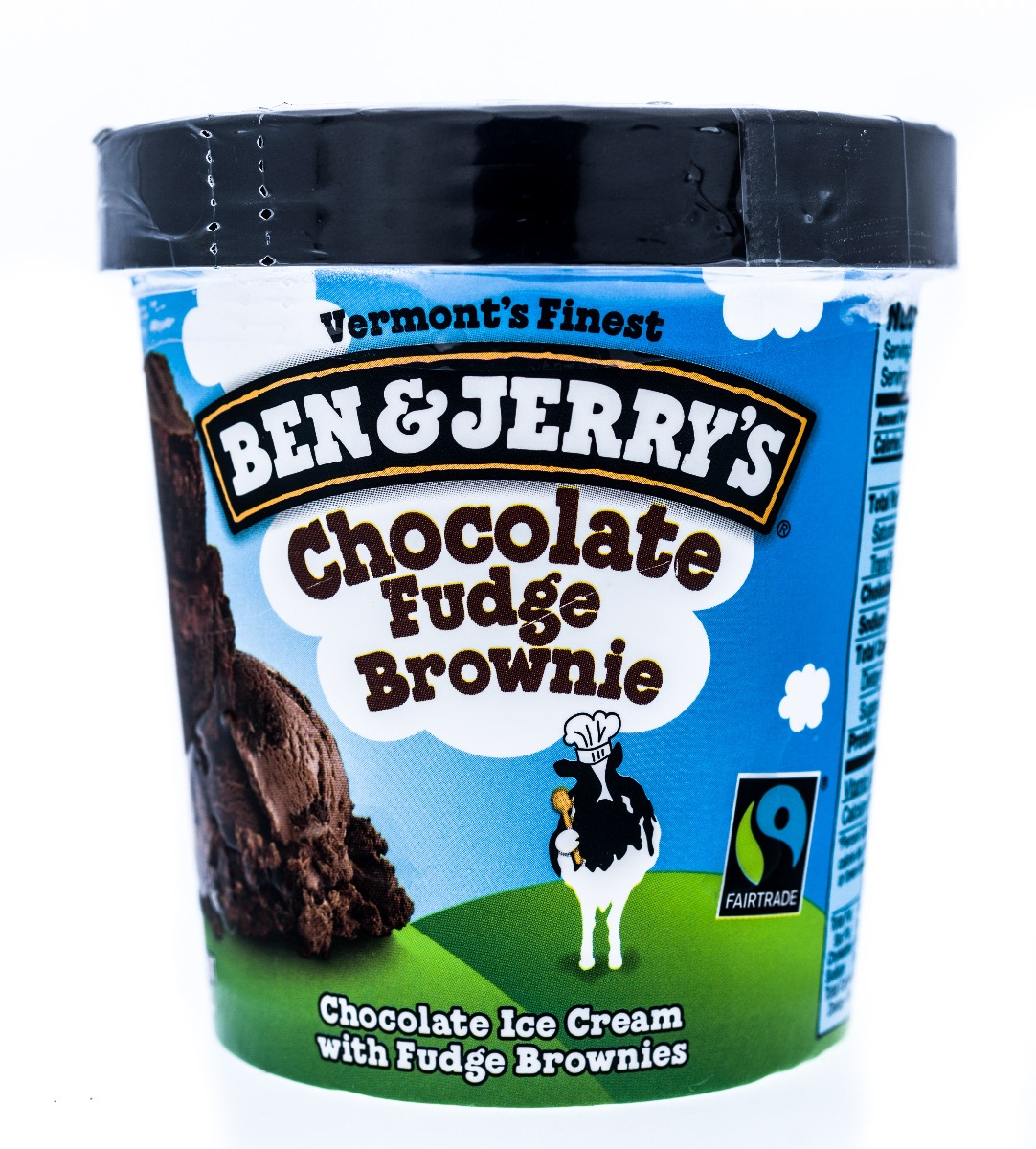 pint of chocolate fudge ben and jerrys ice cream with clear shrink band around lid