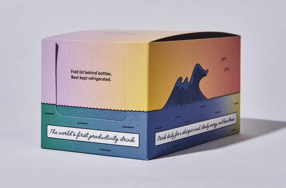 custom printed box with sunset gradient print on all sides with ocean and wave print on bottom text reads best kept refrigerated