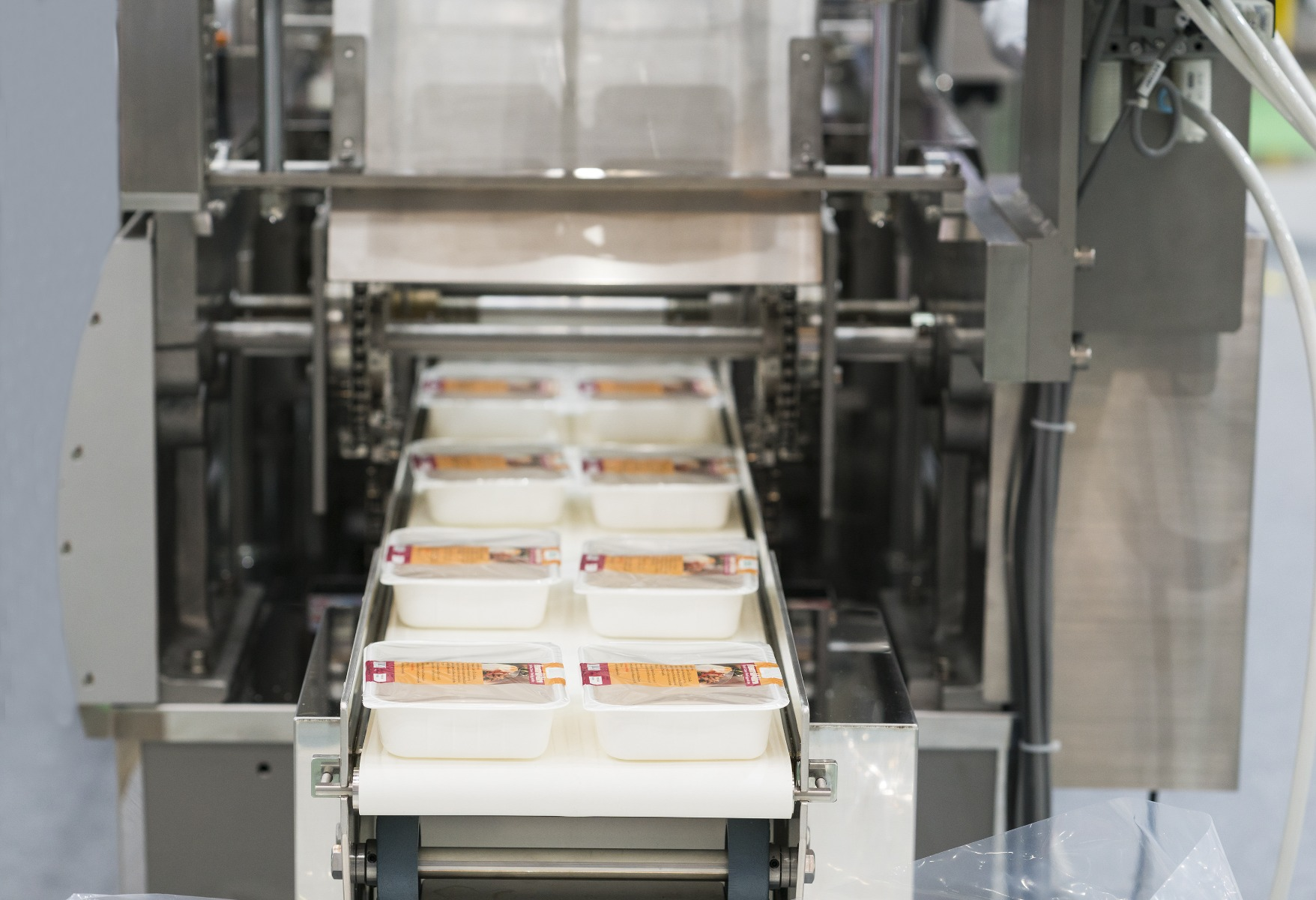 prepackaged meats on conveyor line heading into shrink wrap machine