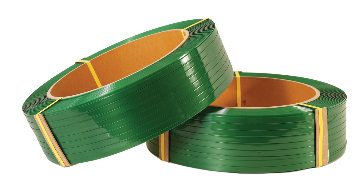 two coils of green polyester strapping on blank background