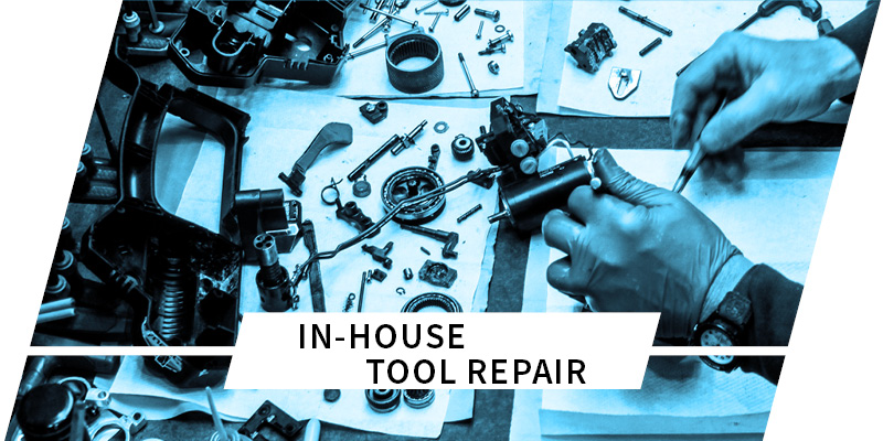 hands repairing strapping tool on table with text in-house tool repair