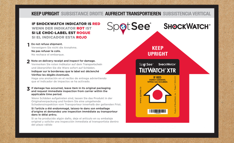 shockwatch tiltwatch xtr label with red upward arrow and instructions on corrugated box