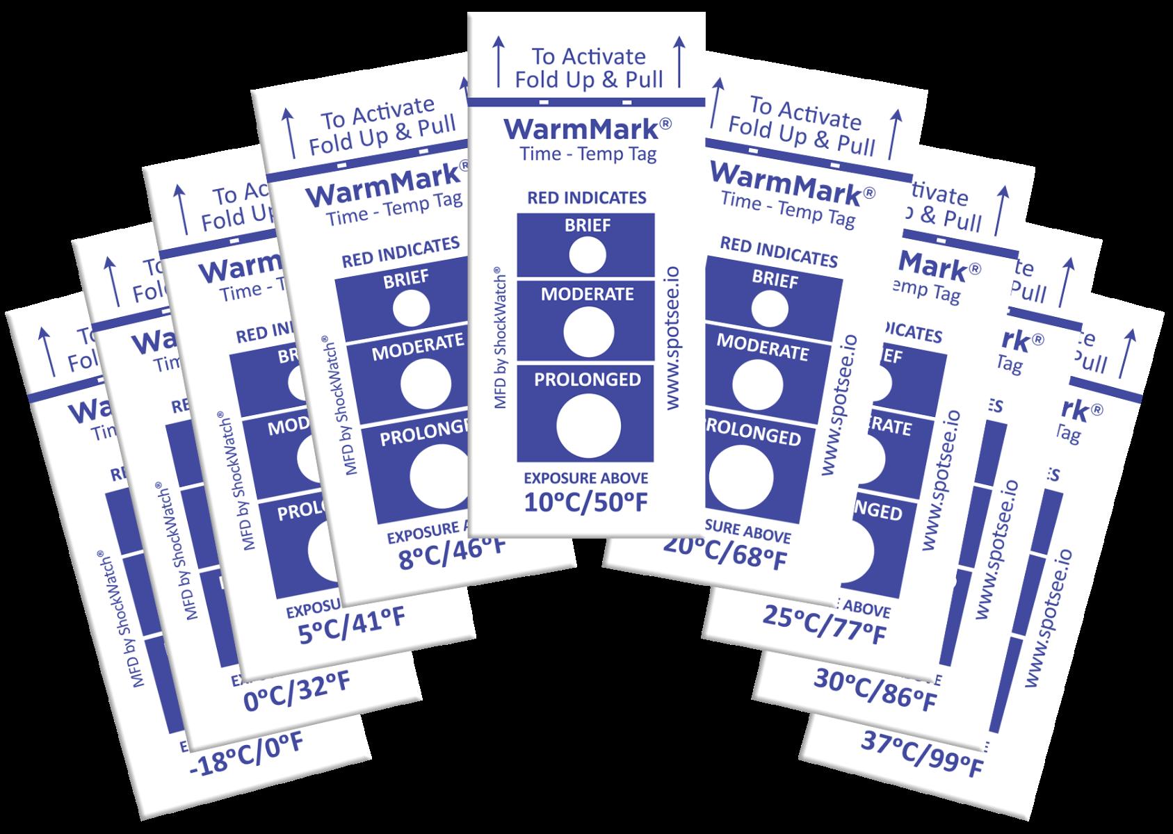 group photo of spotsee warmmark temperature indicators