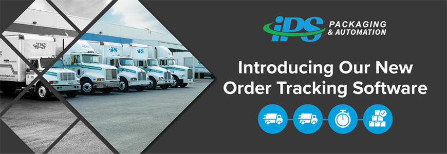 image of ips delivery trucks at docking bay on left with white text introducing our new order tracking software on black background on right