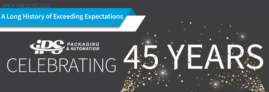 white text on black background reading celebrating 45 years with smaller blue text in top left reading a long history of exceeding expectations