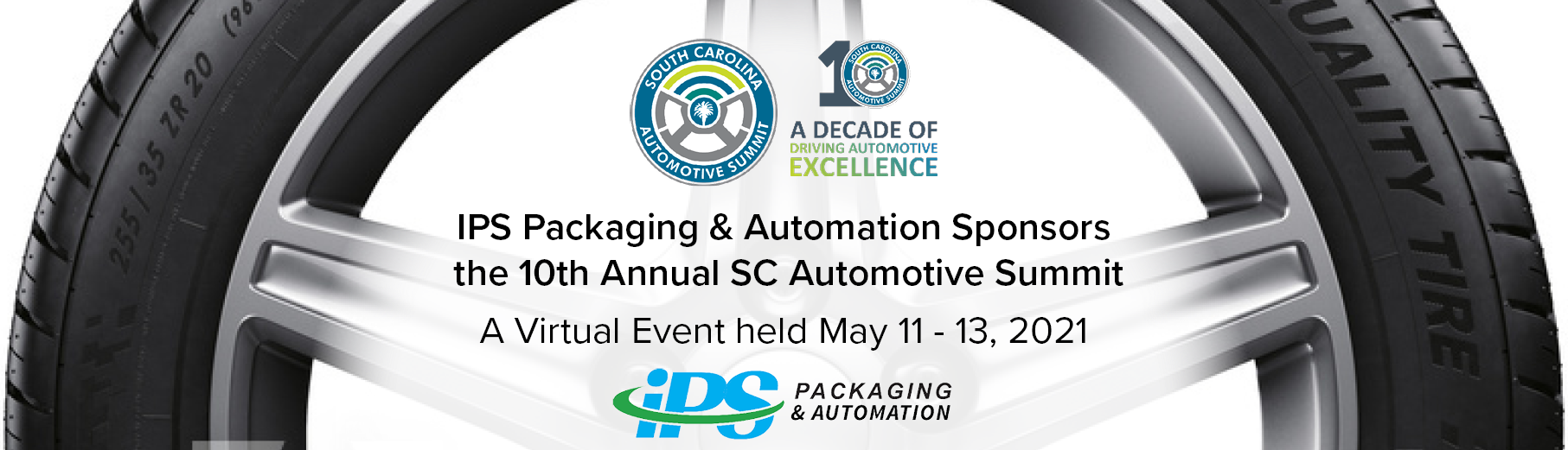 white background with tire surrounding text ips packaging & automation sponsors 10th annual SC automotive summit