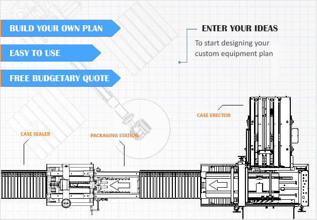 line drawing of packaging automation line with blue text info above