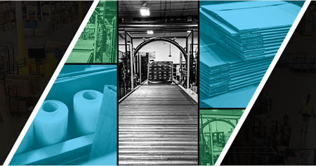 Warehouse background with text IPS Packaging & Automation Designed For Everyone